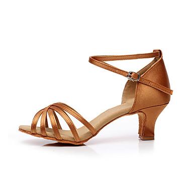 baratos Shall We® Sapatos de Dança-Mulheres Cetim Sapatos de Dança Latina / Dança de Salão Presilha Sandália Salto Robusto Não Personalizável Marron / Champanhe / Couro / EU39
