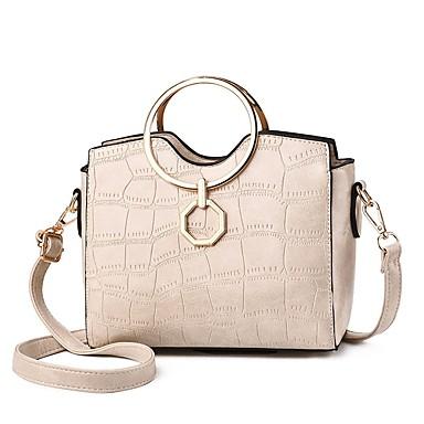 Women's Bags Polyester / PU(Polyurethane) Crossbody Bag Rivet / Zipper Color Block Black / Red / Blushing Pink