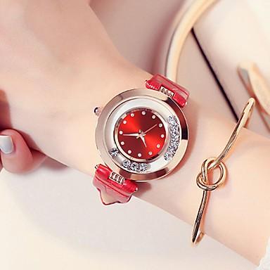 baratos Relógios Senhora-Mulheres Relógios de Quartzo Casual Fashion Preta Branco Vermelho Couro PU Chinês Quartzo Vermelho Rosa Roxo Impermeável Relógio Casual imitação de diamante 30 m 2pçs Analógico
