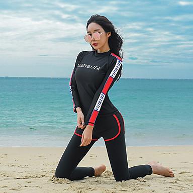 Naisten Skin-tyyppinen märkäpuku Sukelluspuvut UV-aurinkosuojaus Tuulenkestävä Full Body Uinti Sukellus Yhtenäinen Patchwork Kesä / Elastinen