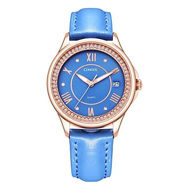 baratos Relógios Senhora-COMTEX Mulheres Relógios de Quartzo Fashion Azul Marinho Couro Legitimo Quartzo Azul Marinho Escuro Impermeável Calendário 1 Pça. Analógico
