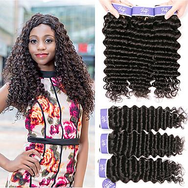voordelige Weaves van echt haar-6 bundels Peruaans haar Diep krullend Niet verwerkt Menselijk Haar Menselijk haar weeft Bundle Hair Een Pack Solution 8-28 inch(es) Natuurlijke Kleur Menselijk haar weeft Zacht Hot Sale Cool
