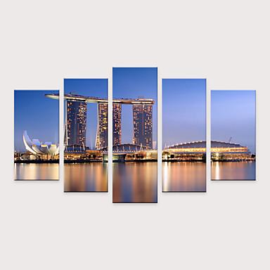 billige Trykk-Trykk Valset lerretskunst - Idyllisk Arkitektur Moderne Fem Paneler Kunsttrykk