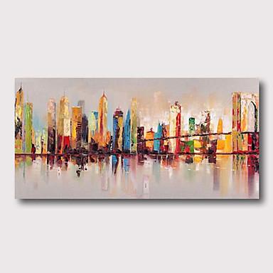 povoljno Ukrašavanje zidova-Hang oslikana uljanim bojama Ručno oslikana - Sažetak Pejzaž Comtemporary Moderna Uključi Unutarnji okvir / Prošireni platno