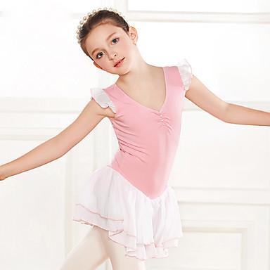 preiswerte Tanzkleider & Tanzschuhe-Tanzkleidung für Kinder / Ballett Kleider Mädchen Training / Leistung Baumwolle / Pullover Perlen Verzierung / Kombination Ärmellos Normal Kleid