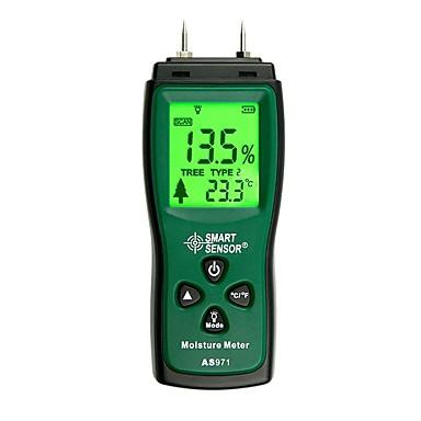 voordelige Test-, meet- & inspectieapparatuur-As971 digitale houtvochtmeter vocht tester hout vochtige detector papier test muur vocht analyzer bereik 2% 70%