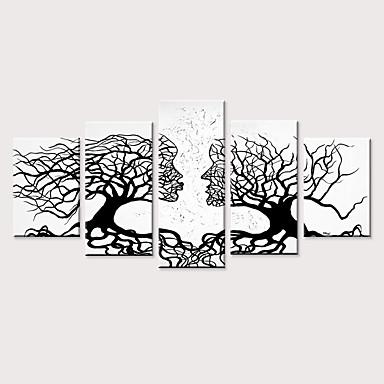 abordables Toiles-Imprimé Impressions sur toile roulées - Arabesque A fleurs / Botanique Moderne Cinq Panneaux Art Prints