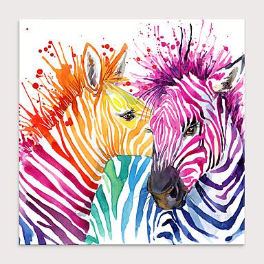hesapli Tablolar-Boyama Haddelenmiş Kanvas Tablolar - Hayvanlar Pop Art Modern Sanatsal Baskılar