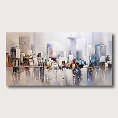 halpa Seintätaide-Hang-Painted öljymaalaus Maalattu - Abstrakti Abstraktit maisemakuvat Comtemporary Moderni Sisällytä Inner Frame / Venytetty kangas