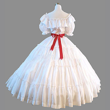 Princess Rococo Victorian Dress Party Costume Costume Women\'s Costume White  Vintage Cosplay Cotton Masquerade Party & Evening Short Sleeve Floor ...