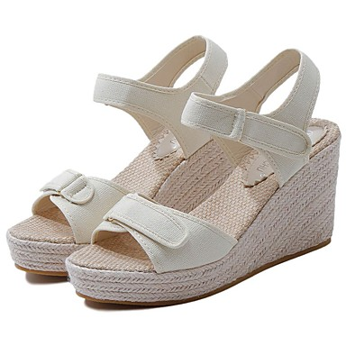 cheap Going to the beach-Women's Canvas Summer Sandals Wedge Heel Black / Almond