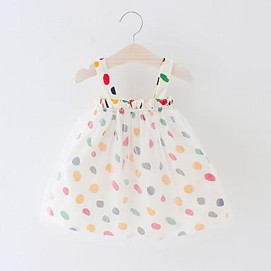 e196e51ef59 Baby Girls  Boho Polka Dot Backless   Mesh Sleeveless Above Knee Cotton   Polyester  Dress Beige