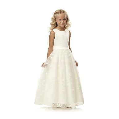 baratos Vestidos para Meninas-Infantil Para Meninas Básico Estilo bonito Branco Sólido Jacquard Com Transparência Sem Manga Longo Seda Vestido Branco