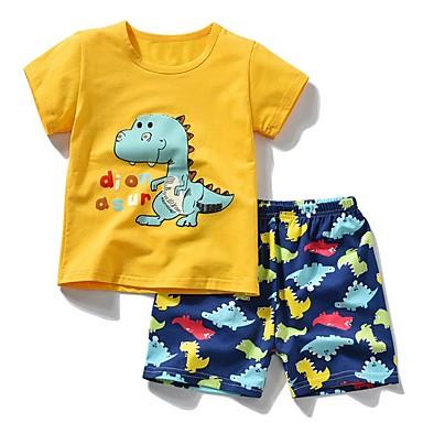 c130afbcc0b3c hesapli Erkek Çocuk Kıyafetleri-Çocuklar Genç Erkek Actif Karton Kısa Kollu  Pamuklu Kıyafet Seti Sarı