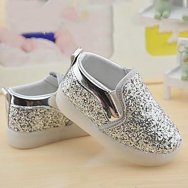 voordelige Babyschoenentjes-Meisjes Comfortabel PU Sneakers Peuter (9m-4ys) / Little Kids (4-7ys) Zwart / Zilver / Roze Lente / Herfst / Rubber