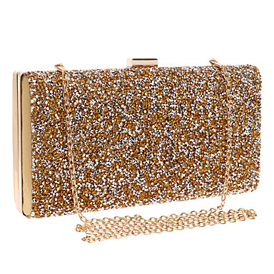 Women's Bags PU(Polyurethane) Evening Bag Rhinestone Solid Colored Gold / Black / Silver / Rhinestone Crystal Evening Bags / Rhinestone Crystal Evening Bags