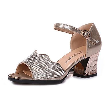 29572f5637db Dámské Boty na latinskoamerické tance Umělá kůže Podpatky Štras Tlustá  podpatku Obyčejné Taneční boty Zlatá   Černá   Stříbrná