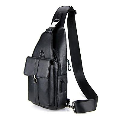 69d20ffd9eab Men's Bags Cowhide Sling Shoulder Bag Zipper / Embossed Solid Color Black /  Coffee / Brown