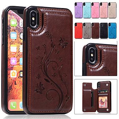 hesapli iPhone Kılıfları-Apple iphone xr xs için kılıf standı ile kabartmalı max kart tutucu arka kapak kelebek sert pu deri xs x 8 8 artı 7 7 artı 6 6 artı 6 s 6 s artı