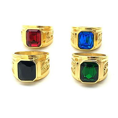 voordelige Herensieraden-Heren Ring 1pc Groen Blauw Bordeaux Roestvast staal Verguld Vintage Bruiloft Dagelijks Sieraden Draak