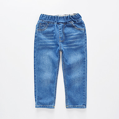 baratos Jeans Para Meninos-Infantil Para Meninos Básico Moda de Rua Sólido Algodão Jeans Azul