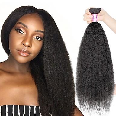 voordelige Weaves van echt haar-4 bundels Braziliaans haar KinkyRecht Onbehandeld haar Menselijk haar weeft Bundle Hair Extentions van mensenhaar 8-28 inch(es) Natuurlijke Kleur Menselijk haar weeft Pasgeboren Geurvrij sexy Lady