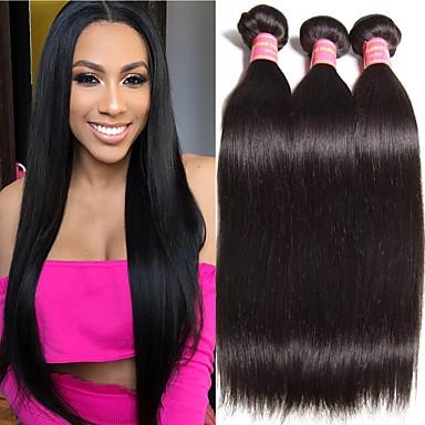 voordelige Weaves van echt haar-3 bundels Braziliaans haar Recht Onbehandeld haar Menselijk haar weeft Bundle Hair Extentions van mensenhaar 8-28 inch Natuurlijke Kleur Menselijk haar weeft Geurvrij Zacht Voor donkere huidskleur