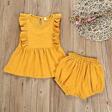 4d86e4c188e1 Χαμηλού Κόστους Βρεφικά σετ ρούχων-Μωρό Κοριτσίστικα Ενεργό   Βασικό  Μονόχρωμο Patchwork Κοντομάνικο Κανονικό Κανονικό