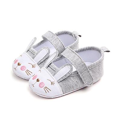 voordelige Babyschoenentjes-Meisjes Comfortabel / Eerste schoentjes Katoen / Polyester Platte schoenen Wandelen Dierenprint Wit / Roze Lente / Zomer