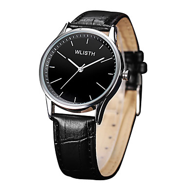 cheap Jewelry & Watches-Men's Dress Watch Quartz Leather Black / Brown 30 m Water Resistant / Waterproof Analog Casual Minimalist - Silver / Black Silvery / White One Year Battery Life