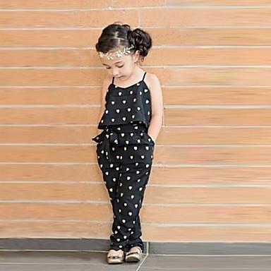 Недорогие Костюмы для девочек-Дети (1-4 лет) Девочки Симпатичные Стиль Повседневные С сердцем С принтом Без рукавов Комбинезон Черный