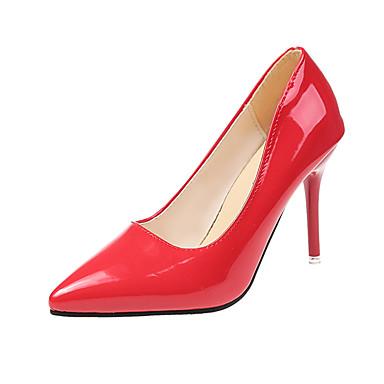 Femme Cuir Verni Printemps été Escarpins Talon Aiguille Rouge / Rose / Amande / Soirée & Evénement