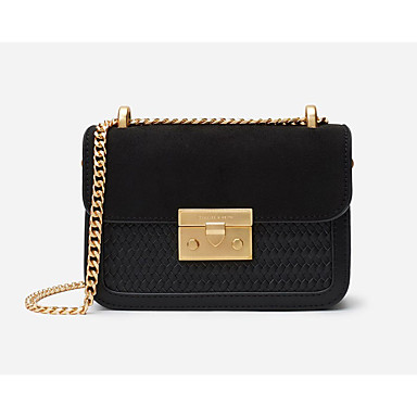 cheap Going to the beach-Women's Chain Crossbody Bag Waterproof Straw / PU(Polyurethane) Solid Color Black / Red / Fall & Winter