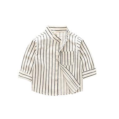 baratos Camisas para Meninos-Infantil Para Meninos Vintage Básico Quadriculada Manga Longa Algodão Camisa Branco