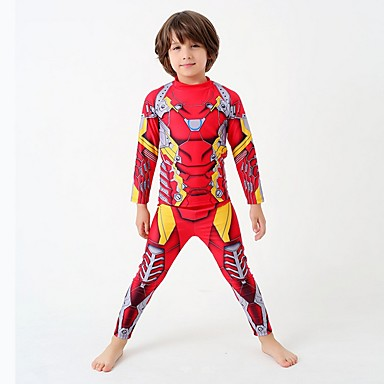 povoljno Kupaći za dječake-Djeca Dječaci Print Poliester Kupaći kostim Plava