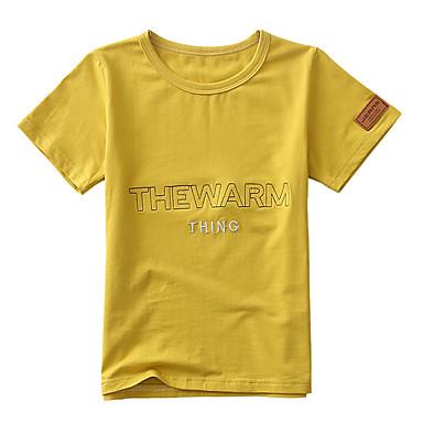 baratos Camisas para Meninos-Infantil Para Meninos Básico Moda de Rua Jacquard Bordado Manga Curta Algodão Camiseta Roxo