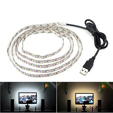 abordables Bandes Lumineuses LED-0,5 m Bandes Lumineuses LED Flexibles 30 LED 3528 SMD Blanc Chaud / Blanc Froid Auto-Adhésives / Fond de TV 5 V 1pc