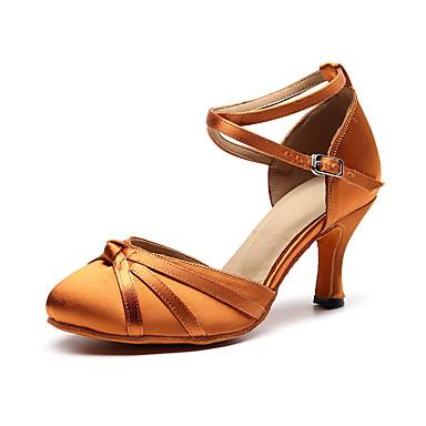 baratos Shall We® Sapatos de Dança-Mulheres Sapatos de Dança Seda Sapatos de Dança Moderna Salto Salto Cubano Personalizável Preto / Rosa claro / Marron / Espetáculo / Ensaio / Prática