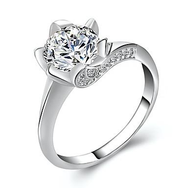 בגדי ריקוד נשים טבעת הגדר זירקונה מעוקבת 1pc זהב כסף סגסוגת מעגלי ארופאי חתונה תכשיטים חמוד