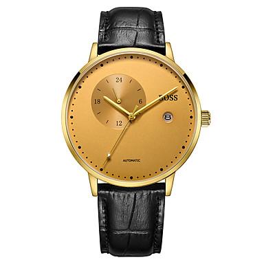 baratos Relógios Homem-Homens Relógio Elegante Japanês Automático - da corda automáticamente Couro Preta 30 m Impermeável Analógico Clássico - Dourado Um ano Ciclo de Vida da Bateria / Aço Inoxidável