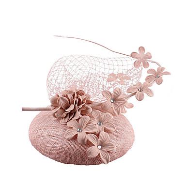 abordables Coiffes-Filet / Mélange Lin / Coton Fascinators / Fleurs / Coiffe avec Plume / Fleur 1 Mariage / Fête / Soirée Casque