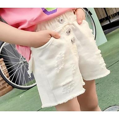 baratos Calças & Leggings para Meninas-Bébé Para Meninas Básico Boho Sólido Algodão Shorts Branco