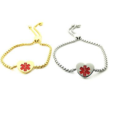 abordables Bracelet-Bracelet ID Femme ID Acier inoxydable Cœur Mode Bracelet Bijoux Dorée Blanc pour Quotidien Plein Air