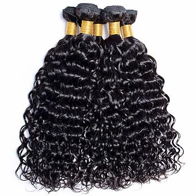voordelige Weaves van echt haar-6 bundels Braziliaans haar Watergolf Niet verwerkt Menselijk Haar Menselijk haar weeft Bundle Hair Een Pack Solution 8-28 inch(es) Natuurlijke Kleur Menselijk haar weeft Geurvrij Klassiek Comfortabel