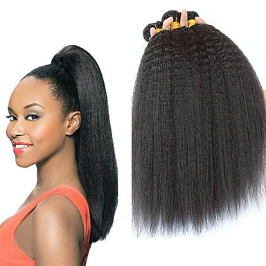 baratos Extensões de Cabelo Natural-3 pacotes Cabelo Eurásio Yaki Liso Cabelo Virgem 100% Remy Hair Weave Bundles Peça para Cabeça Cabelo Bundle Extensões de Cabelo Natural 8-28 polegada Côr Natural Tramas de cabelo humano Feminino