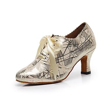baratos Shall We® Sapatos de Dança-Mulheres Sintéticos Sapatos de Swing Flor Salto Salto Cubano Personalizável Dourado / Cinza Escuro / Ensaio / Prática
