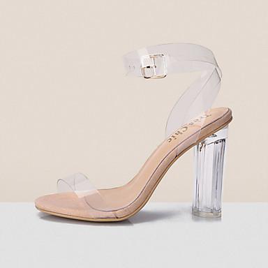 ieftine Sandale de Damă-Pentru femei Jelly sandale PVC Primăvară / Vară pantofi transparent Sandale Toc Îndesat / Blocați călcâiul Pantofi vârf deschis Cataramă Alb / Negru / Albastru / Party & Seară / Party & Seară / EU41