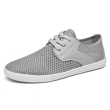 בגדי ריקוד גברים נעלי נוחות רשת אביב קיץ יום יומי נעלי ספורט הליכה נושם לבן / שחור / אפור