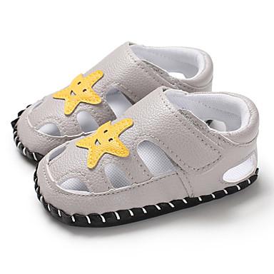 בנים / בנות צעדים ראשונים PU סנדלים תינוקות (0-9m) / פעוט (9m-4ys) שחור / אפור / חום קיץ / גומי