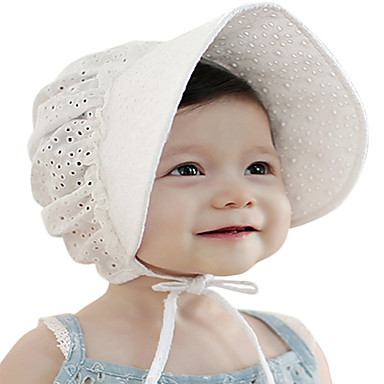 66d52d7d Toddler / Infant Girls' Vintage / Active / Basic Solid Colored / Jacquard  Lace / Stylish / Hollow Out Cotton Hats & Caps White / Blushing Pink  One-Size